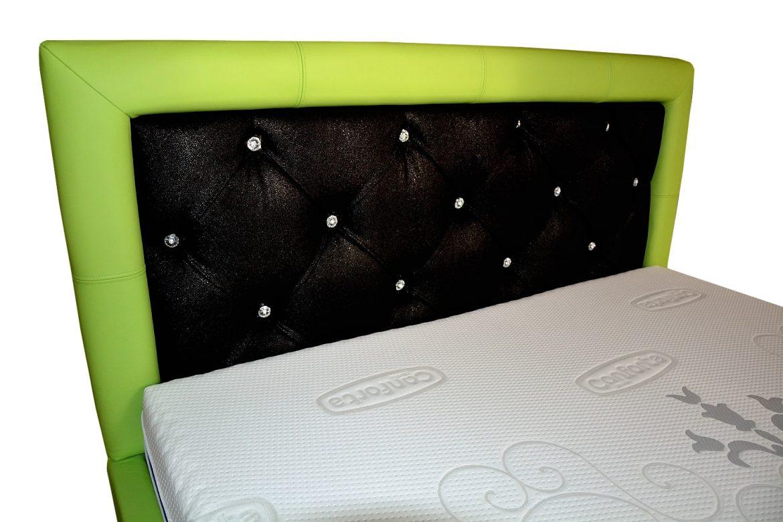 tablie pat san remo tapitata in doua tipuri piele naturala bovina verde cu impletitura imitatie piele pisica de mare neagra cu insertii butoni swarovschi min