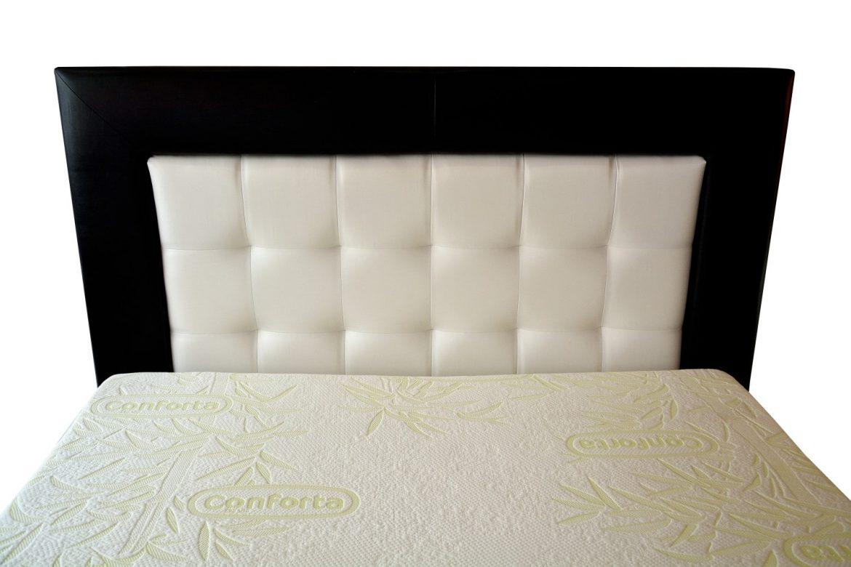 tablie pat tapitata 160 in piele ecologica combinata alb si negru palma cu model vedere frontala min
