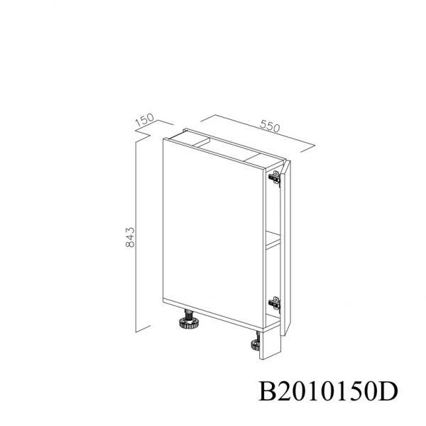 B2010150D Baza cu 1 Usa Verticala 1 polita si 2 Balamale cu Amortizare Blum cu deschidere pe dreapta deschisa 2