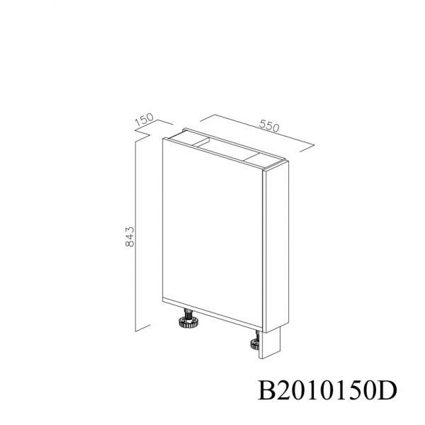 B2010150D Baza cu 1 Usa Verticala 1 polita si 2 Balamale cu Amortizare Blum cu deschidere pe dreapta inchisa