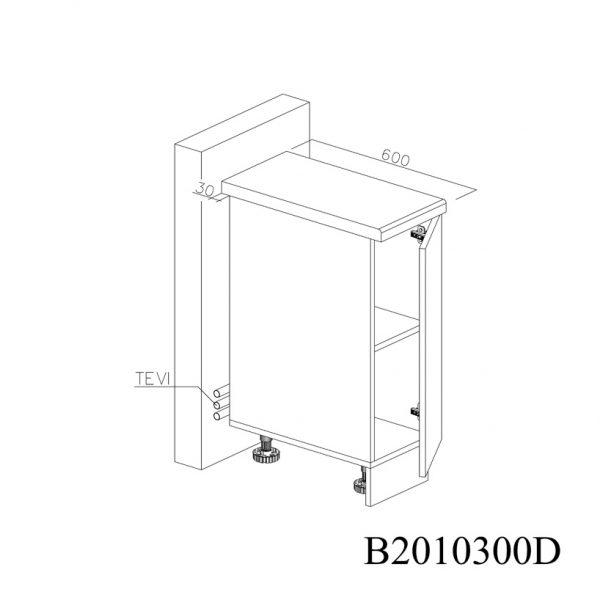 B2010300D Baza cu 1 Usa Verticala 1 polita si 2 Balamale cu Amortizare Blum