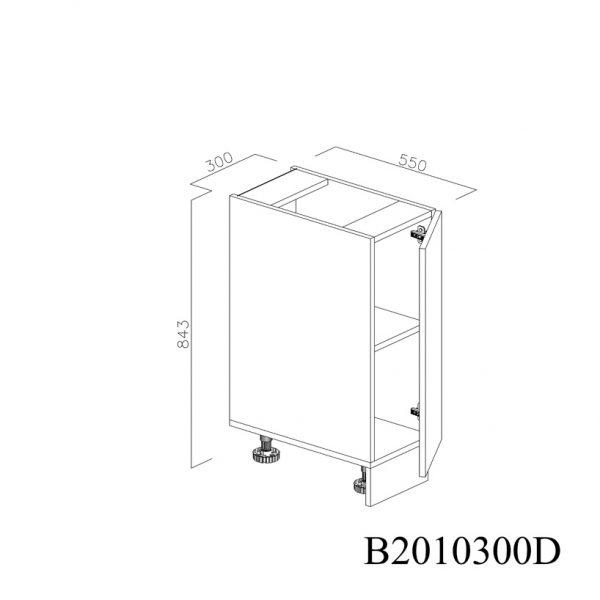 B2010300D Baza cu 1 Usa Verticala 1 polita si 2 Balamale cu Amortizare Blum cu deschidere pe stanga deschisa