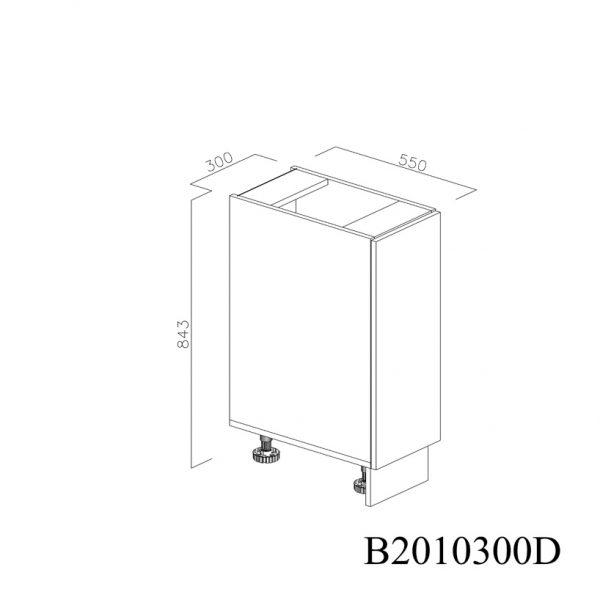 B2010300D Baza cu 1 Usa Verticala 1 polita si 2 Balamale cu Amortizare Blum cu deschidere pe stanga inchisa