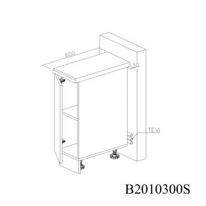 B2010300S Baza cu 1 Usa Verticala 1 polita si 2 Balamale cu Amortizare Blum