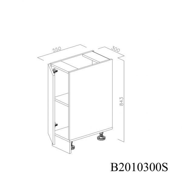 B2010300S Baza cu 1 Usa Verticala 1 polita si 2 Balamale cu Amortizare Blum cu deschidere pe stanga deschisa