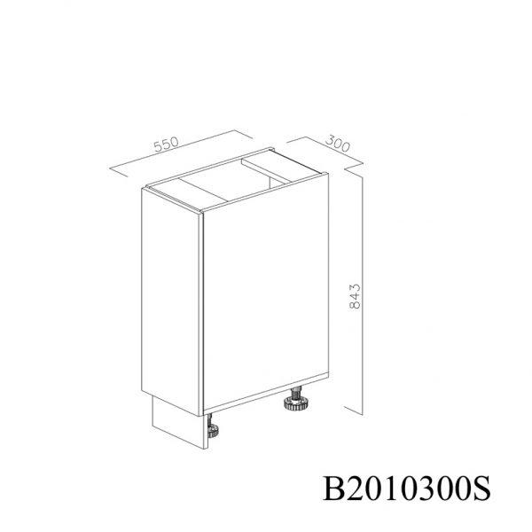 B2010300S Baza cu 1 Usa Verticala 1 polita si 2 Balamale cu Amortizare Blum cu deschidere pe stanga inchisa