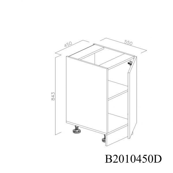 B2010450D Baza cu 1 Usa Verticala 1 polita si 2 Balamale cu Amortizare Blum cu deschidere pe stanga deschisa