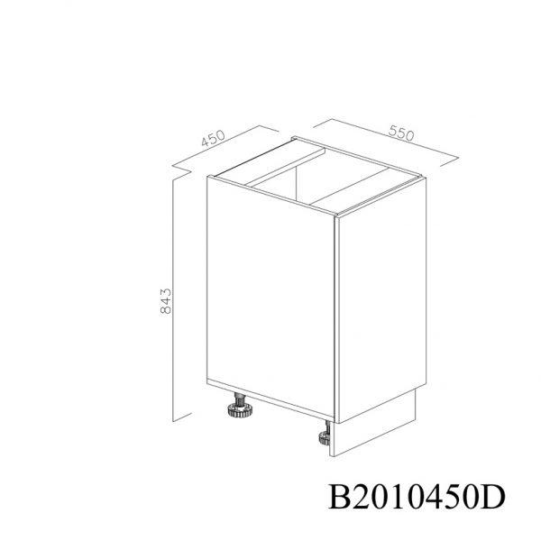 B2010450D Baza cu 1 Usa Verticala 1 polita si 2 Balamale cu Amortizare Blum cu deschidere pe stanga inchisa