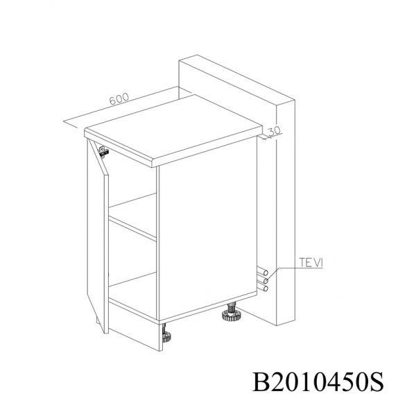 B2010450S Baza cu 1 Usa Verticala 1 polita si 2 Balamale cu Amortizare Blum