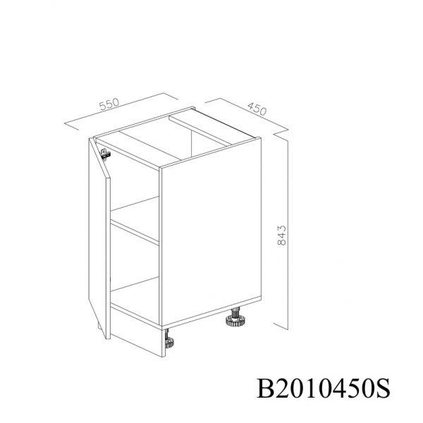 B2010450S Baza cu 1 Usa Verticala 1 polita si 2 Balamale cu Amortizare Blum cu deschidere pe stanga deschisa