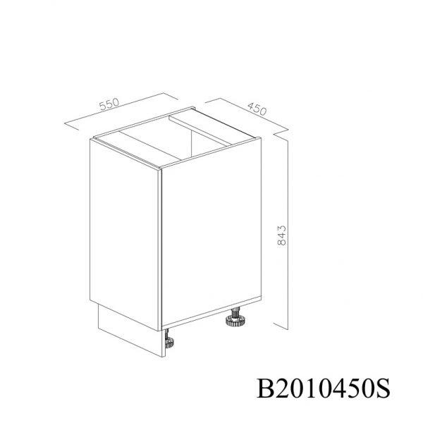 B2010450S Baza cu 1 Usa Verticala 1 polita si 2 Balamale cu Amortizare Blum cu deschidere pe stanga inchisa