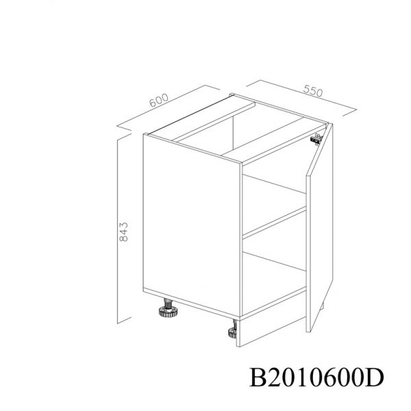 B2010600D Baza cu 1 Usa Verticala 1 polita si 2 Balamale cu Amortizare Blum cu deschidere pe dreapta deschisa