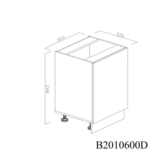 B2010600D Baza cu 1 Usa Verticala 1 polita si 2 Balamale cu Amortizare Blum cu deschidere pe stanga inchisa