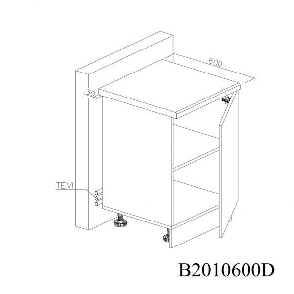 B2010600D Baza cu 1 Usa Verticala 1 polita si 2 Balamale cu Amortizare Blum cu deschidre pe dreapta