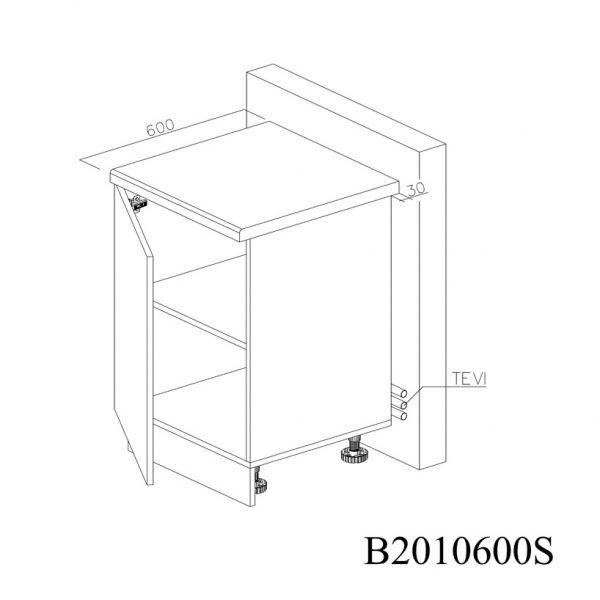 B2010600S Baza cu 1 Usa Verticala 1 polita si 2 Balamale cu Amortizare Blum