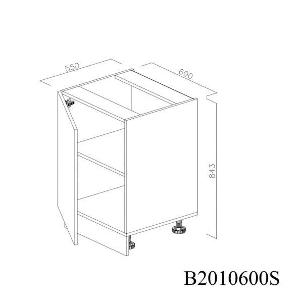 B2010600S Baza cu 1 Usa Verticala 1 polita si 2 Balamale cu Amortizare Blum cu deschidere pe stanga deschisa