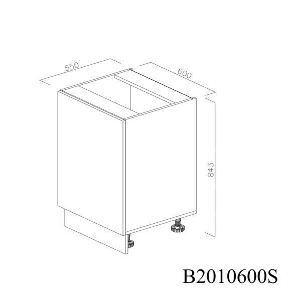 B2010600S Baza cu 1 Usa Verticala 1 polita si 2 Balamale cu Amortizare Blum cu deschidere pe stanga inchisa