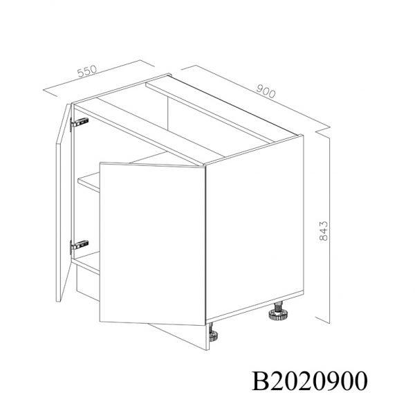 B2020900 Baza cu 2 Usi Verticale 1 polita si 4 Balamale cu Amortizare Blum deschisa