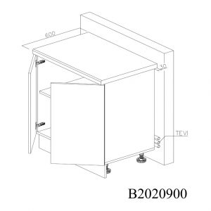 B2020900 Baza cu 2 Usi Verticale 1 polita si 4 Balamale cu Amortizare Blum deschise