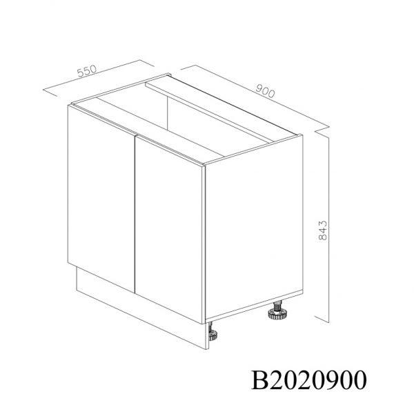 B2020900 Baza cu 2 Usi Verticale 1 polita si 4 Balamale cu Amortizare Blum inchisa