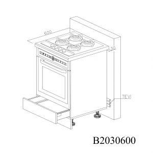 B2030600 Baza Cuptor cu 1 Sertar Orizontal Antaro cu Amortizare Blum deschis 1