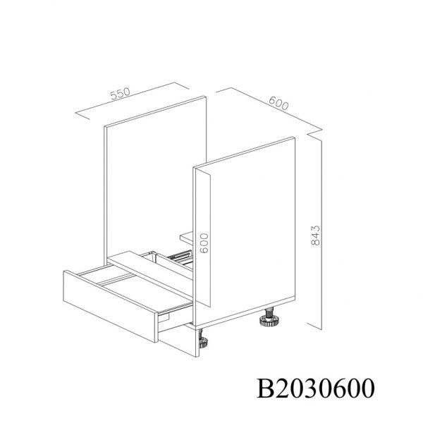 B2030600 Baza Cuptor cu 1 Sertar Orizontal Antaro cu Amortizare Blum deschis structura