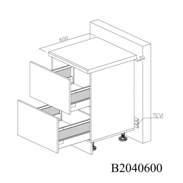 B2040600 Baza cu 2 Sertare Tandembox Antaro cu Amortizare Blum