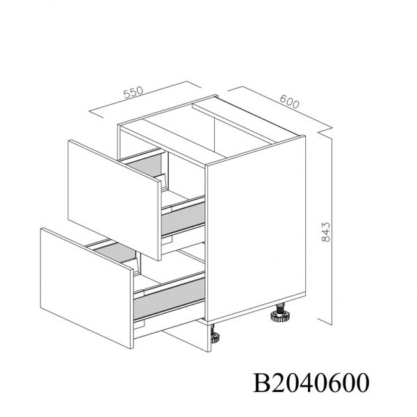 B2040600 Baza cu 2 Sertare Tandembox Antaro cu Amortizare Blum deschise