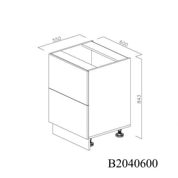 B2040600 Baza cu 2 Sertare Tandembox Antaro cu Amortizare Blum inchise