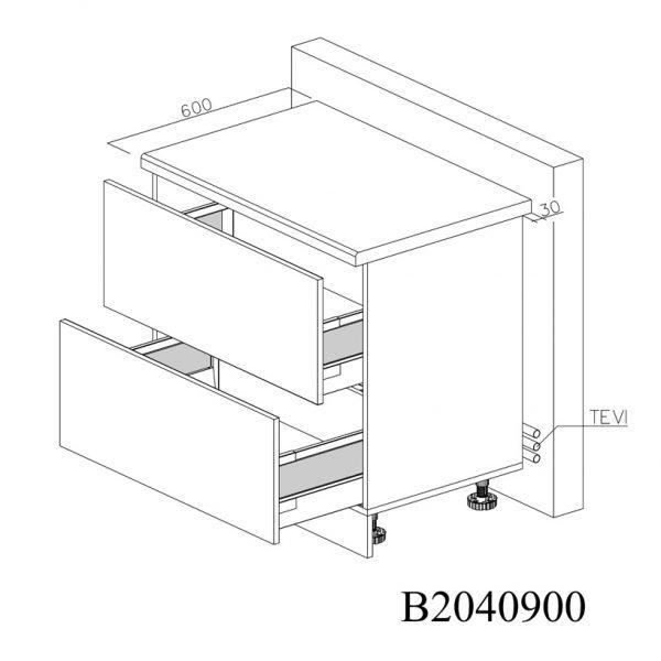 B2040900 Baza cu 2 Sertare Tandembox Antaro cu Amortizare Blum
