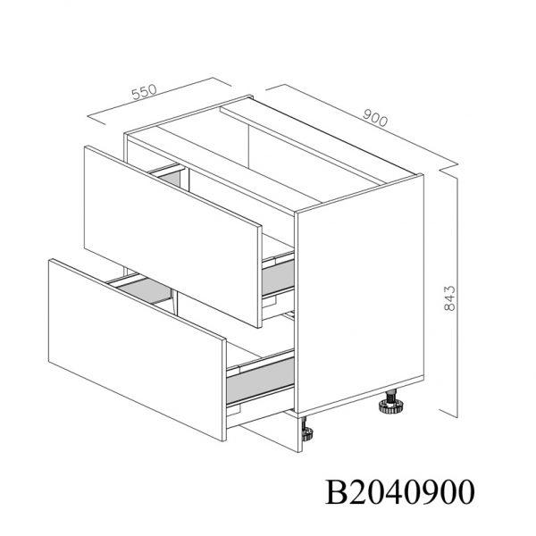 B2040900 Baza cu 2 Sertare Tandembox Antaro cu Amortizare Blum deschise