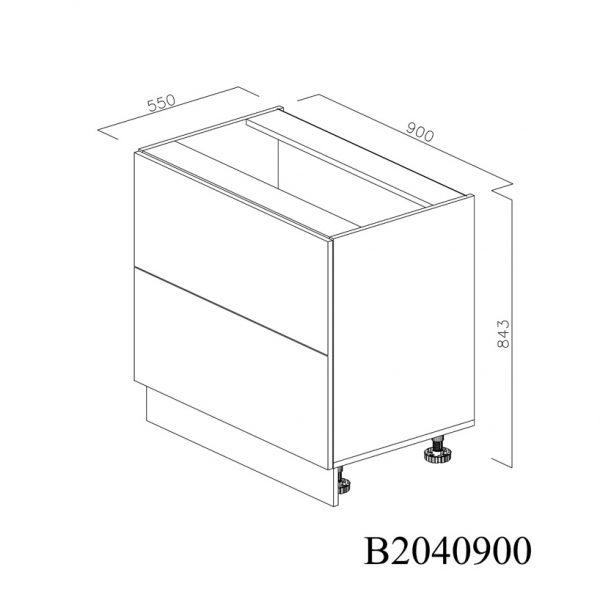 B2040900 Baza cu 2 Sertare Tandembox Antaro cu Amortizare Blum inchise