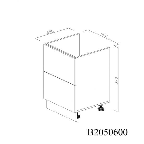B2050600 Baza Masca Chiuveta cu 2 Sertare Tandembox Antaro cu Amortizare Blum inchise