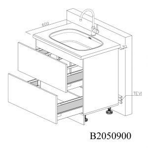 B2050900 Baza Masca Chiuveta cu 2 Sertare Tandembox Antaro cu Amortizare Blum