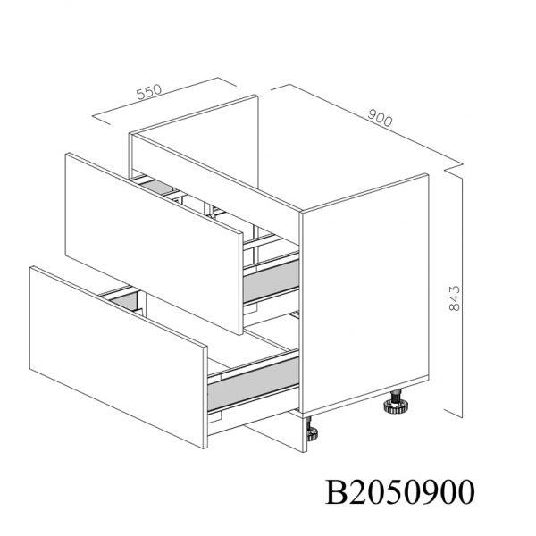 B2050900 Baza Masca Chiuveta cu 2 Sertare Tandembox Antaro cu Amortizare Blum deschise