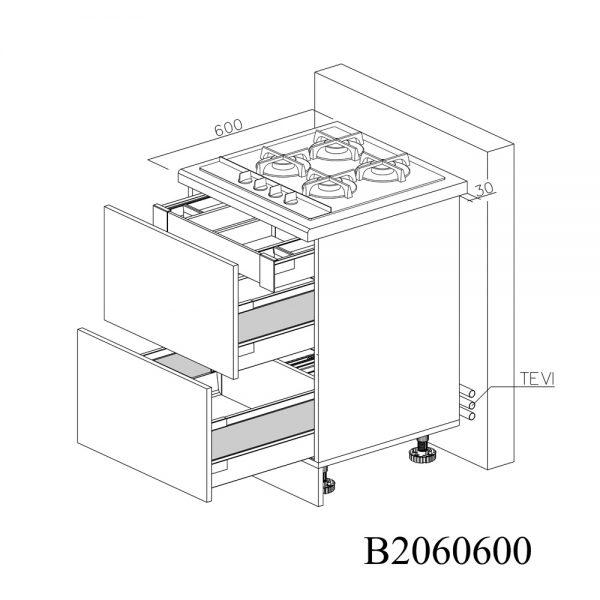 B2060600 Baza pentru Plita cu 2 Sertare Tandembox Antaro cu amortizare Blum si 1 Sertar Tandembox Antaro cu amortizare Interior H 100