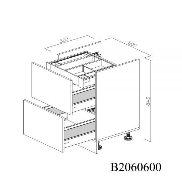 B2060600 Baza pentru Plita cu 2 Sertare Tandembox Antaro cu amortizare Blum si 1 Sertar Tandembox Antaro cu amortizare Interior H 100 deschis