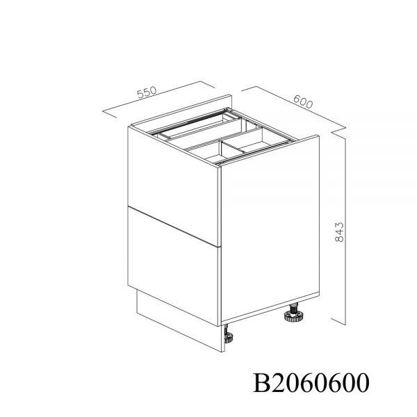 B2060600 Baza pentru Plita cu 2 Sertare Tandembox Antaro cu amortizare Blum si 1 Sertar Tandembox Antaro cu amortizare Interior H 100 inchis