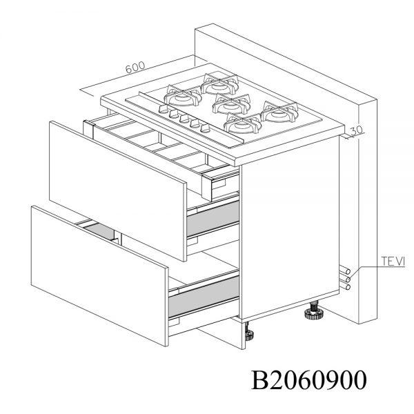 B2060900 Baza pentru Plita cu 2 Sertare Tandembox Antaro cu amortizare Blum si 1 Sertar Tandembox Antaro cu amortizare Interior H 100