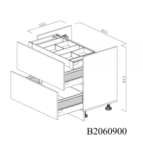 B2060900 Baza pentru Plita cu 2 Sertare Tandembox Antaro cu amortizare Blum si 1 Sertar Tandembox Antaro cu amortizare Interior H 100 deschis