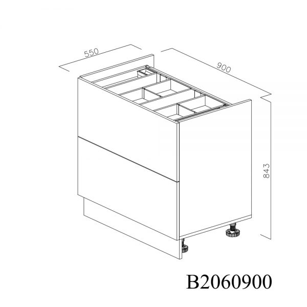 B2060900 Baza pentru Plita cu 2 Sertare Tandembox Antaro cu amortizare Blum si 1 Sertar Tandembox Antaro cu amortizare Interior H 100 inchis