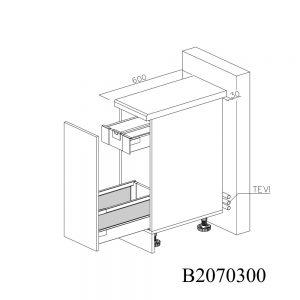 B2070300 Joly cu 1 Sertar Tandembox Antaro cu amortizare Blum si 1 Sertar Tandembox Antaro cu amortizare Blum Interior H 100