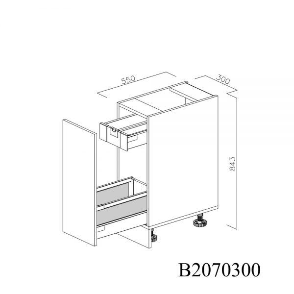 B2070300 Joly cu 1 Sertar Tandembox Antaro cu amortizare Blum si 1 Sertar Tandembox Antaro cu amortizare Blum Interior H 100 deschis