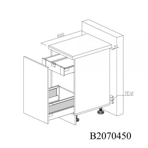 B2070450 Joly cu 1 Sertar Tandembox Antaro cu amortizare Blum si 1 Sertar Tandembox Antaro cu amortizare Blum Interior H 100