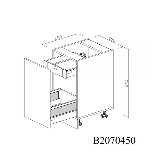 B2070450 Joly cu 1 Sertar Tandembox Antaro cu amortizare Blum si 1 Sertar Tandembox Antaro cu amortizare Blum Interior H 100 deschis