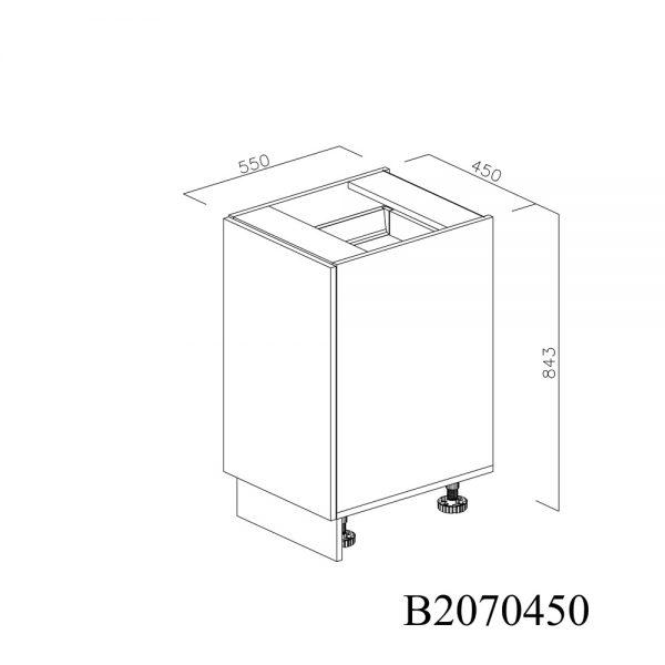 B2070450 Joly cu 1 Sertar Tandembox Antaro cu amortizare Blum si 1 Sertar Tandembox Antaro cu amortizare Blum Interior H 100 inchis