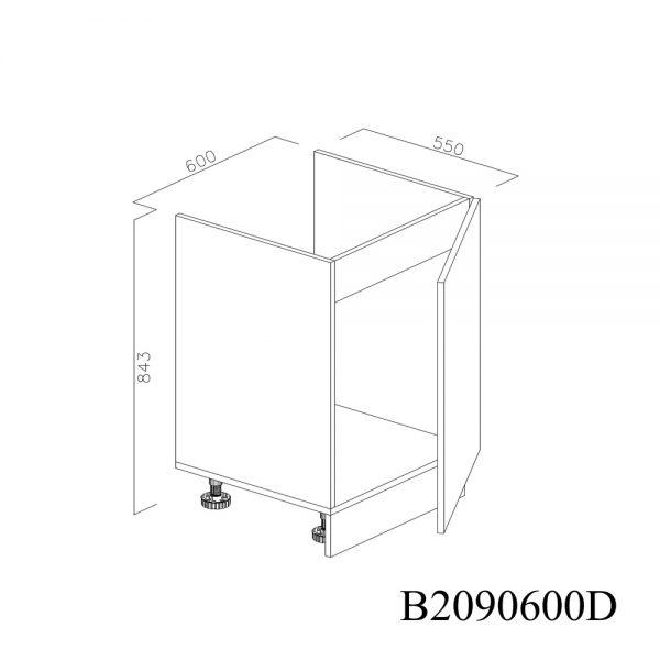 B2090600D Baza Masca Chiuveta 1 Usa Verticale si 2 Balamale cu Amortizare Blum cu deschidere pe stanga deschis