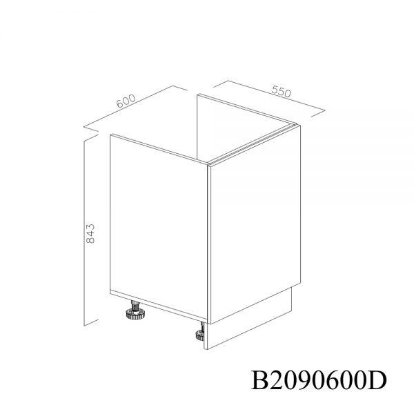 B2090600D Baza Masca Chiuveta 1 Usa Verticale si 2 Balamale cu Amortizare Blum cu deschidere pe stanga inchis