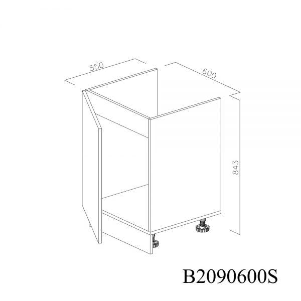 B2090600S Baza Masca Chiuveta 1 Usa Verticale si 2 Balamale cu Amortizare Blum cu deschidere pe stanga deschis