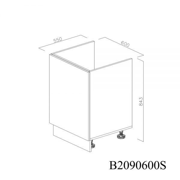 B2090600S Baza Masca Chiuveta 1 Usa Verticale si 2 Balamale cu Amortizare Blum cu deschidere pe stanga inchis